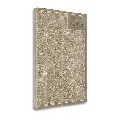 Tangletown Fine Art 'Blueprint Map Paris Taupe' by Sue Schlabach Graphic Art on Wrapped Canvas