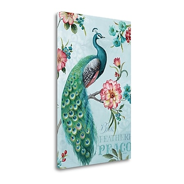 Tangletown Fine Art 'Blue Feathered Peacock I' by Lisa Audit Graphic Art on Wrapped Canvas