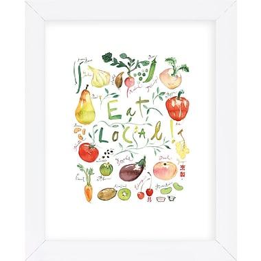 Red Barrel Studio 'Eat Local' Framed Graphic Art Print; White