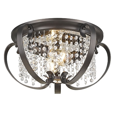 Willa Arlo Interiors Hardouin 2-Light Flush Mount; Etruscan Bronze