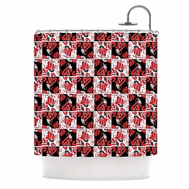 East Urban Home 'Texture Red Flowers' Shower Curtain