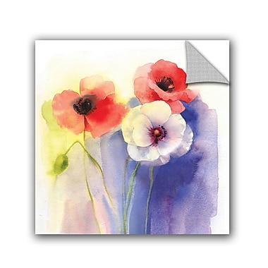 Ebern Designs Mcintyre Watercolor Floral Wall Decal; 18'' H x 18'' W x 0.1'' D