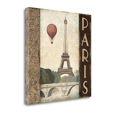 'City Skyline Paris Vintage Square' by Marco Fabiano Graphic Art on Wrapped Canvas