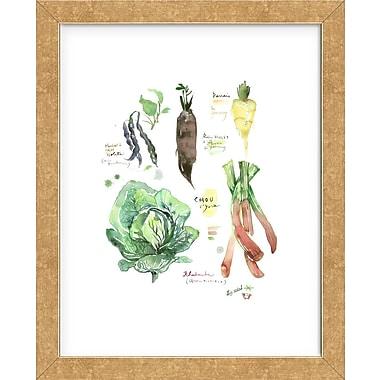 Red Barrel Studio 'Green Winter Vegetables' Framed Graphic Art Print; Gold