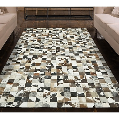 17 Stories Alysa Hand-Stitched Brown/Gray Leather Area Rug; 9' x 12'