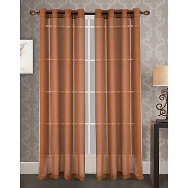 Varick Gallery Vanlandingham Geometric Semi-Sheer Grommet Single Curtain Panel; Teracotta