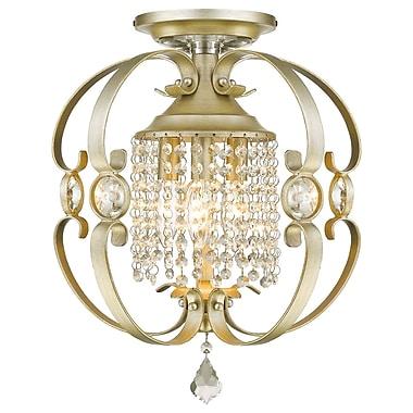 Willa Arlo Interiors Hardouin 3-Light Semi-Flush Mount; White Gold