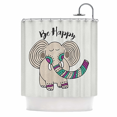 East Urban Home 'Be Happy' Typography Shower Curtain