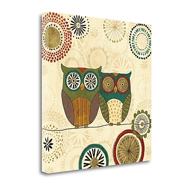 Tangletown Fine Art 'Spice Road Owls II' by Veronique Charron Graphic Art on Wrapped Canvas