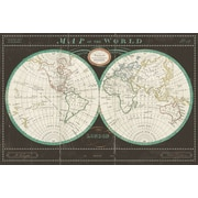 Charlton Home 'Torkingtons World Map Slate' Graphic Art on Wrapped Canvas; 18'' H x 26'' W x 1.5'' D