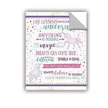 ArtWall Life Lessons Unicorn Wall Decal; 48'' H x 36'' W x 0.1'' D