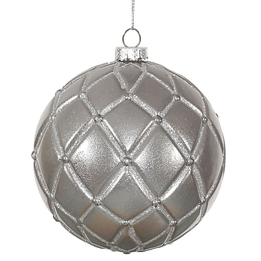 The Holiday Aisle Candy Glitter Net Ball Christmas Ornament (Set of 6); Plum