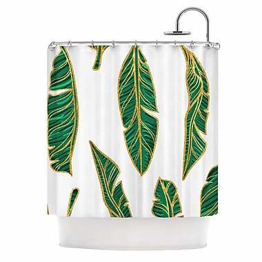 East Urban Home 'Banana Leaf Gold' Digital Shower Curtain