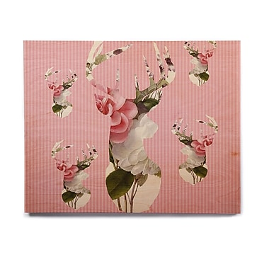 East Urban Home 'Floral Deer' Graphic Art Print on Wood