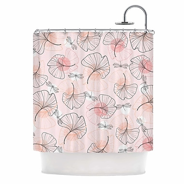 East Urban Home 'Pattern Flowers and Dragonflies' Illustration Shower Curtain