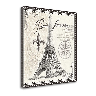 Tangletown Fine Art 'Bonjour Paris III' by Janelle Penner Graphic Art on Wrapped Canvas