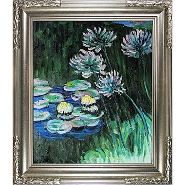 Tori Home 'Water Lilies and Agapanthus' Oil Painting Print on Canvas