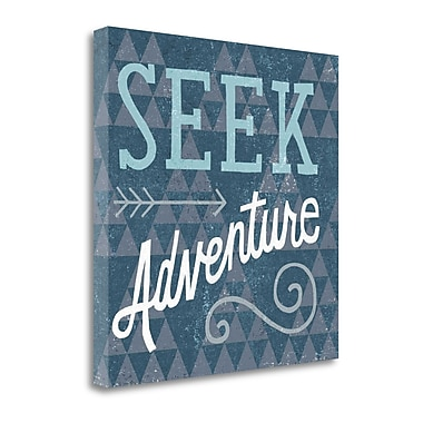 'Mod Triangles Seek Adventure Blue' by Michael Mullan Textual Art on Wrapped Canvas