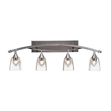 Brayden Studio Burgin 4-Light Black Copper Glass Shade Vanity Light; Brushed Nickel