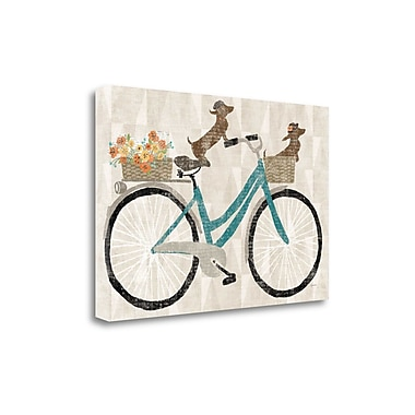 Tangletown Fine Art 'Doxie Ride V.I' by Sue Schlabach Graphic Art on Wrapped Canvas; 32'' H x 48'' W