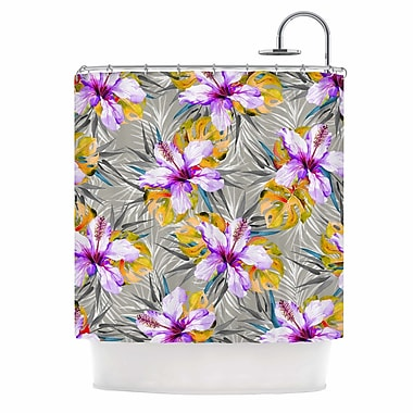 East Urban Home 'Tropical Flowery' Illustration Shower Curtain