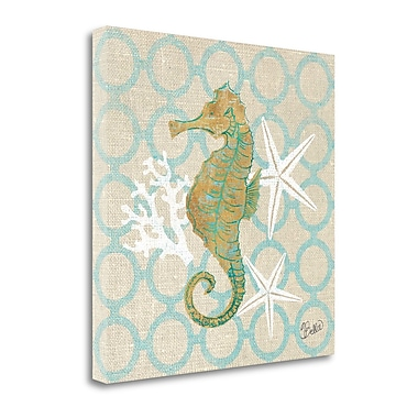 Tangletown Fine Art 'Beach Linen Seahorse' by Studio Bella Graphic Art on Wrapped Canvas