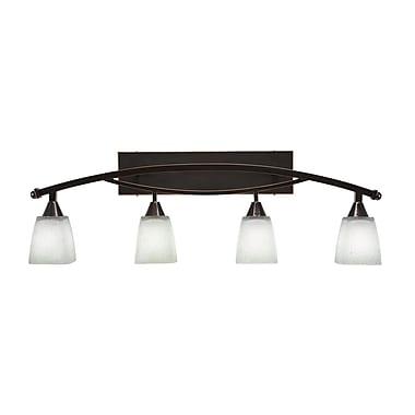 Brayden Studio Burgin 4-Light Muslin Glass Shade Vanity Light; Black Copper