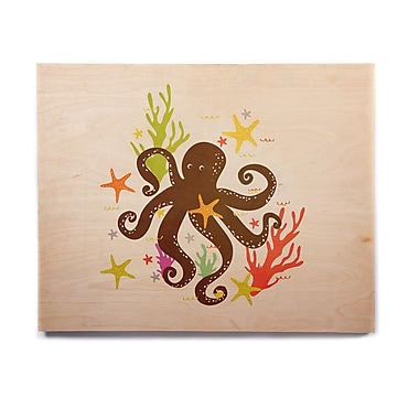 East Urban Home Octopus 'Friends Around the Sea' Graphic Art Print on Wood