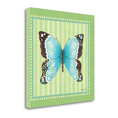 Tangletown Fine Art Blue Butterfly - Stripe' Graphic Art Print on Canvas; 18 ''H x 18 ''W x 1.5''D