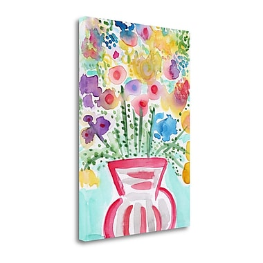 Tangletown Fine Art Red Vase Of Flowers' Graphic Art Print on Canvas; 19 ''H x 27 ''W x 1.5''D