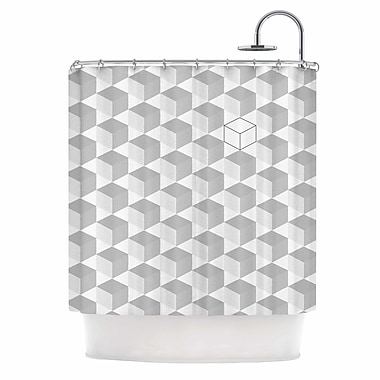 East Urban Home 'Grayscale Cubed' Shower Curtain