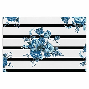 East Urban Home 'Blue Floral Strips' Doormat