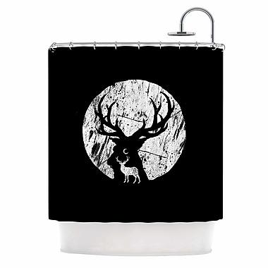 East Urban Home 'Deer at Night' Digital Shower Curtain