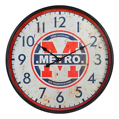 17 Stories 26.75'' Metro Black/Red Wall Clock