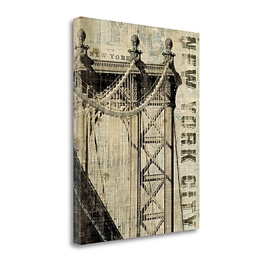 Tangletown Fine Art 'Vintage NY Manhattan Bridge' by Michael Mullan Graphic Art on Wrapped Canvas