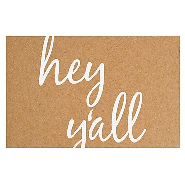 East Urban Home 'Hey Y'all' Doormat; Brown/White