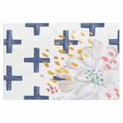 East Urban Home 'Bright and Pretty ' Doormat; Navy Blue/White