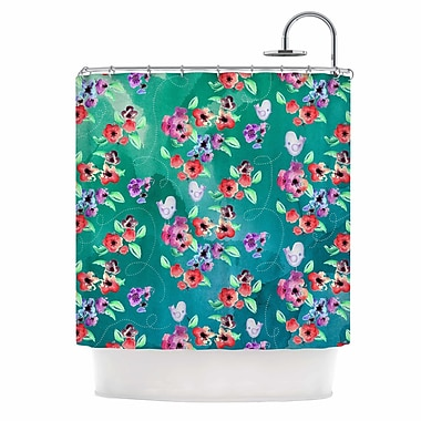 East Urban Home 'Spring Flowers and Birds' Shower Curtain; Teal/Green/Purple