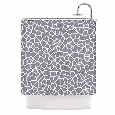 East Urban Home 'Staklo' Shower Curtain; Gray/White