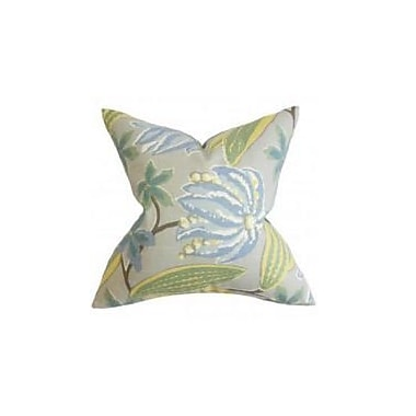 Bayou Breeze Bryleigh Floral Throw Pillow Cover; Blue
