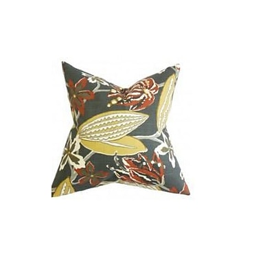 Bayou Breeze Bryleigh Floral Throw Pillow Cover; Red