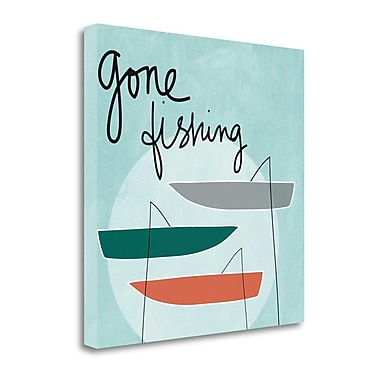 Tangletown Fine Art 'Gone Fishing' Graphic Art Print on Canvas; 20 ''H x 20 ''W x 1.5''D