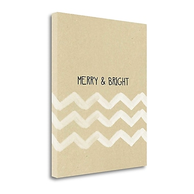 Tangletown Fine Art 'Krafty Merry and Bright White Chevron' Graphic Art Print on Canvas