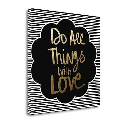 Tangletown Fine Art All Things - Gold' Textual Art on Canvas; 24 ''H x 24 ''W x 1.5''D