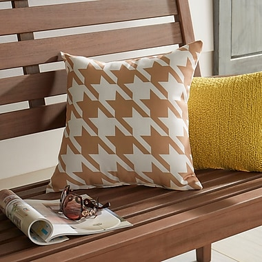 Darby Home Co Bryant Geometric Outdoor Throw Pillow; Brown