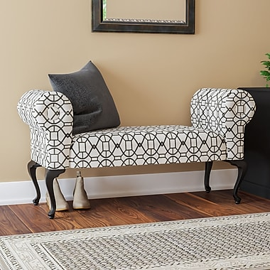 Charlton Home Deford Cabriole Legs Upholstered Bedroom Bench; Mixie Pepper