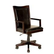 Darby Home Co Adjustable Wood Frame Armchair; Dark Walnut