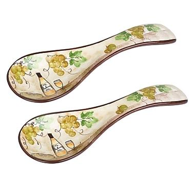 Lorren Home Trends Grape Ceramic Spoon Rest (Set of 2)
