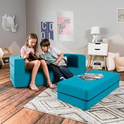 Zoomie Kids Duncan Big Kids Convertible Sleeper Sofa and Ottoman; Teal