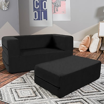 Zoomie Kids Duncan Big Kids Loveseat and Ottoman; Black WYF078281432246
